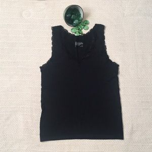 The Limited Black camisole with lace trim.